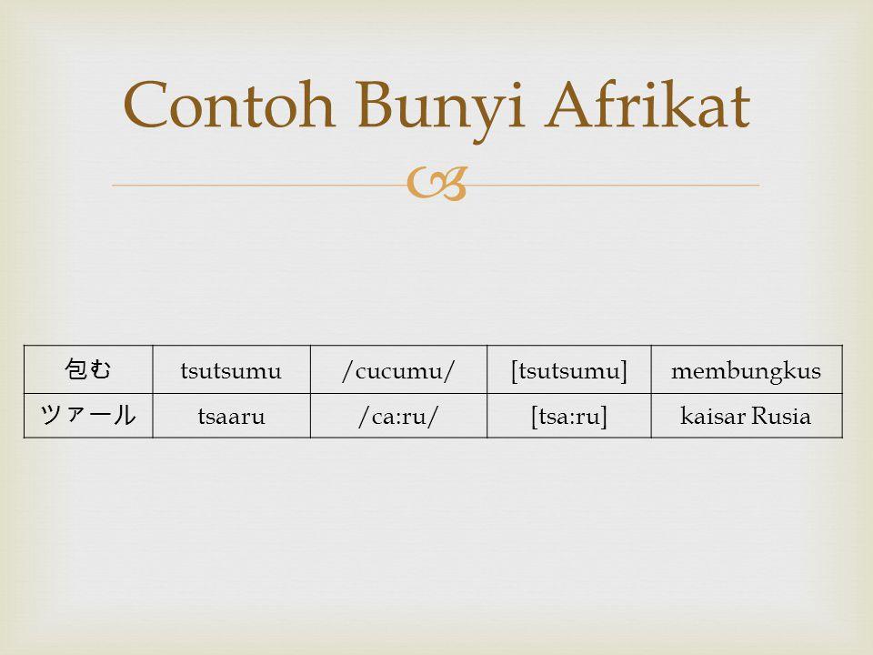 Contoh Bunyi Afrikat 包む tsutsumu /cucumu/ [tsutsumu] membungkus ツァール